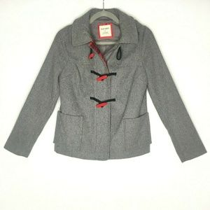 Old Navy Gray Button Front Hooded Peacoat Fall